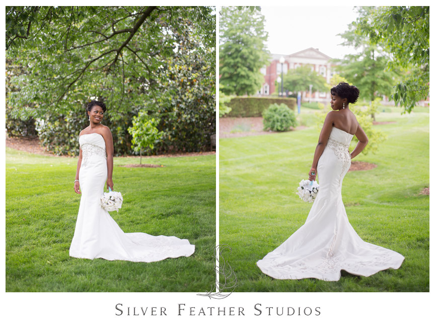 A gorgeous bride poses in her gown at UNC Greensboro. Photography by Silver Feather Studios.