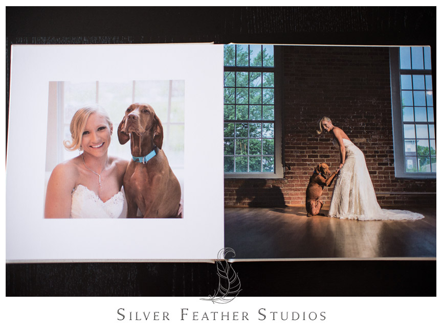 Full image spread inside cream linen bridal album. Photograph by Silver Feather Studios.