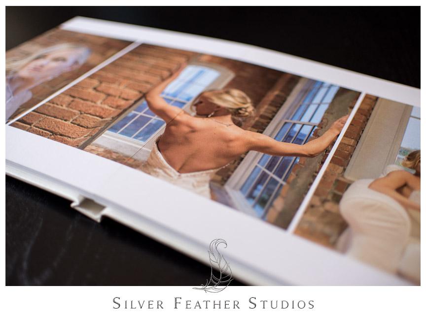 Three image spread inside cream linen bridal album. Photograph by Silver Feather Studios.