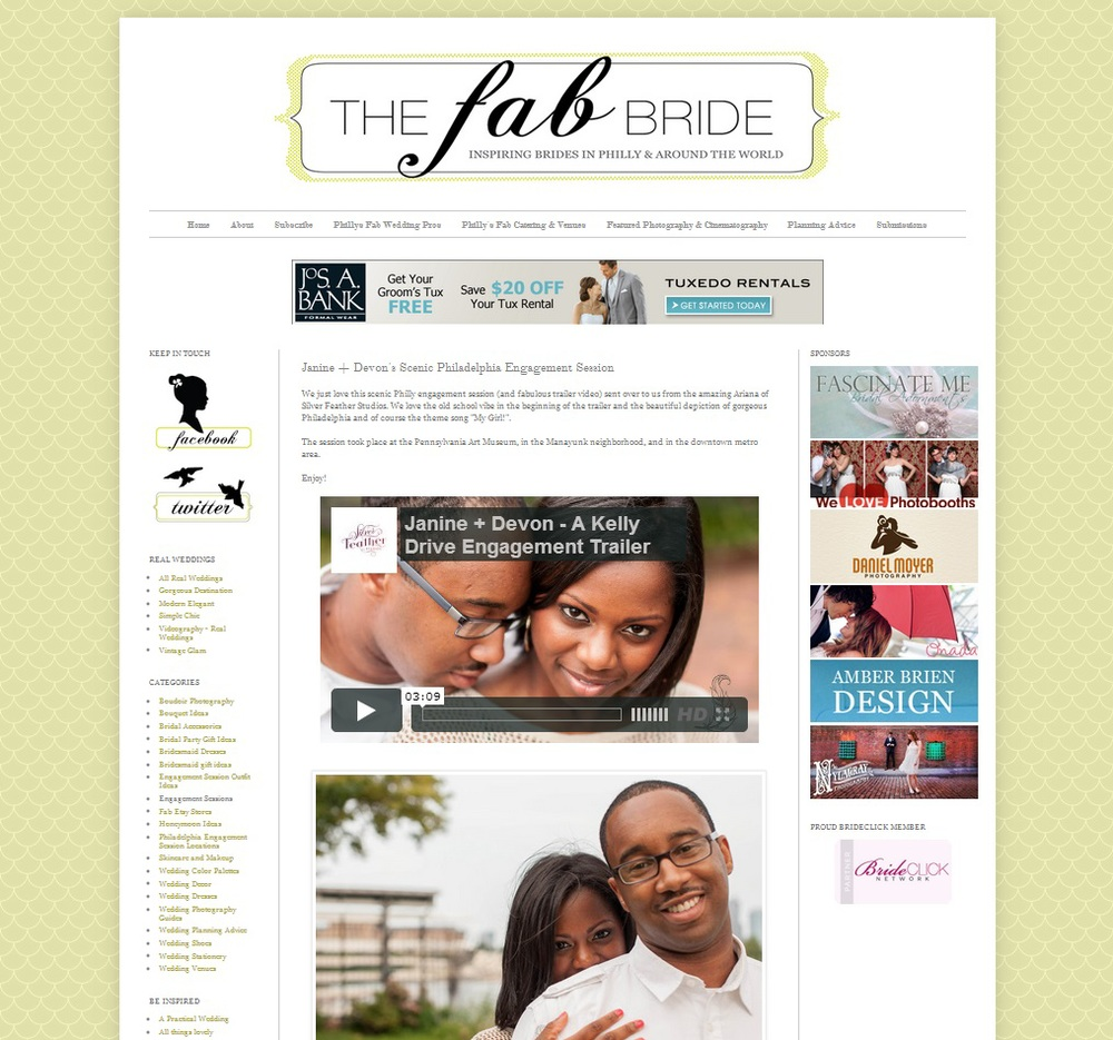 Featured on Philadelphia wedding blog The Fab Bride.