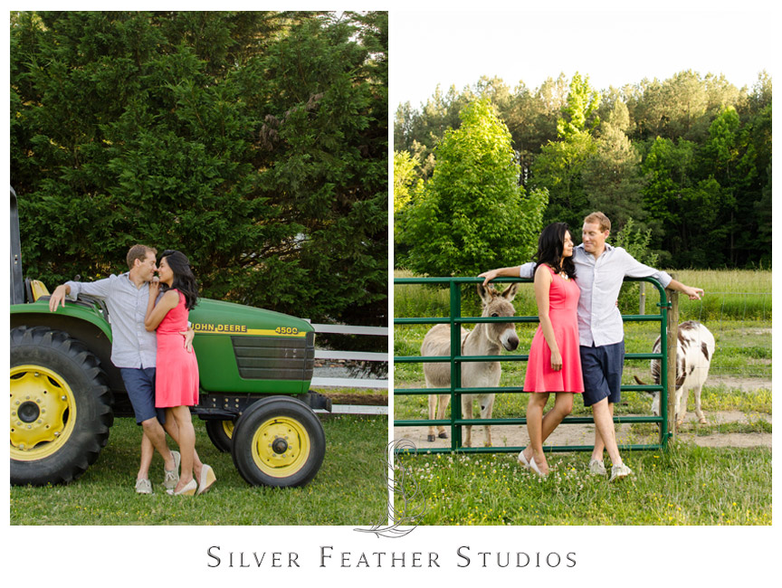 John Deere tractor and donkeys add personality to this Chapel Hill Countryside engagement session.