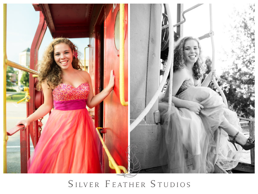 Posed portrait shots on red train caboose in downtown Gibsonville.