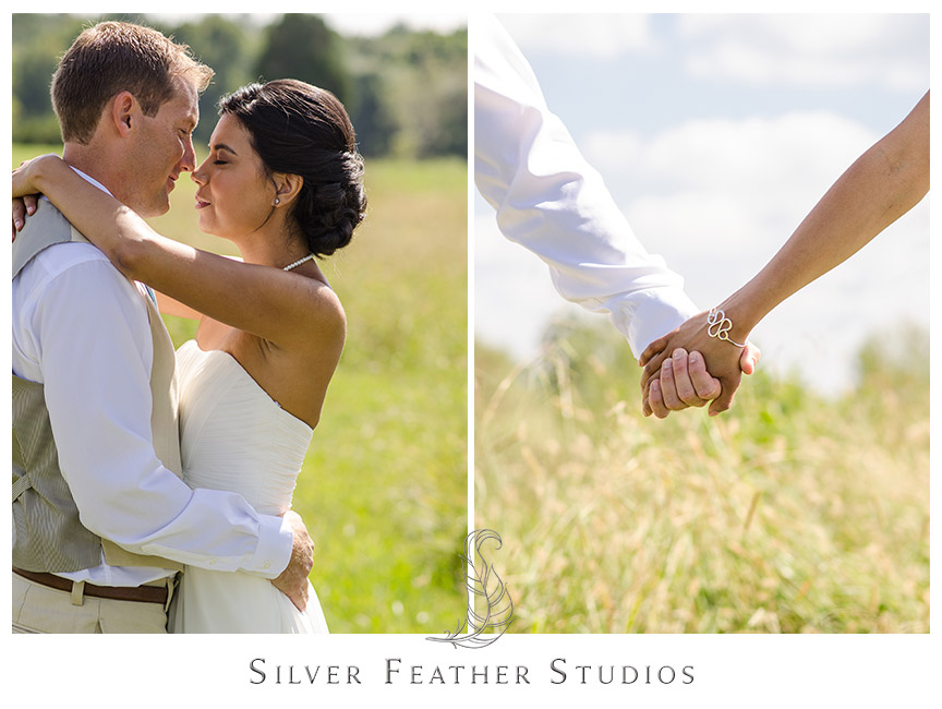 Bride and groom pose and hold hands for their portraits at Starlight Meadow in Burlington.  © Silver Feather Studios