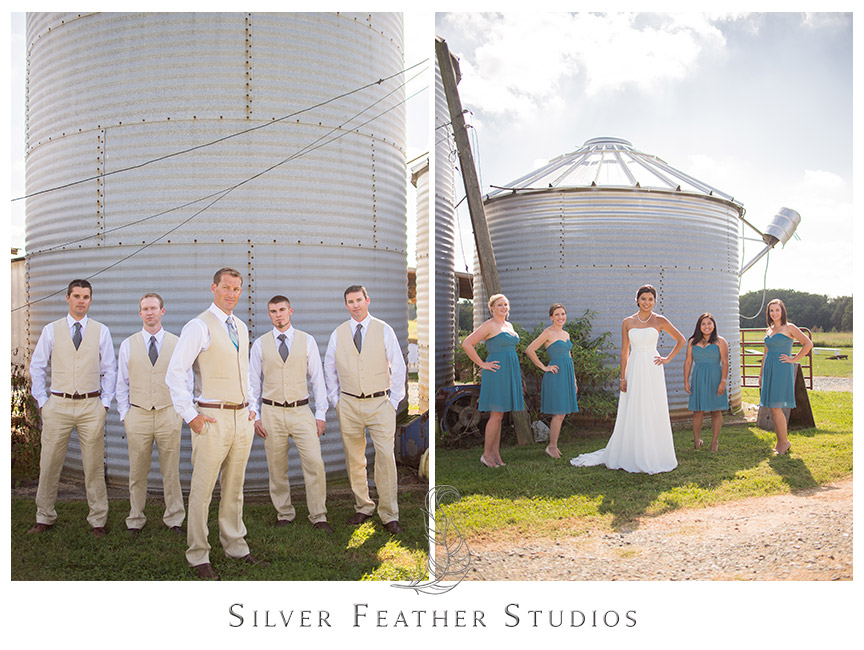Groomsmen in beige vests and bridesmaid in blue strapless dresses at Starlight Meadow in Burlington, North Carolina © Silver Feather Studios, Burlington, NC Wedding Photography