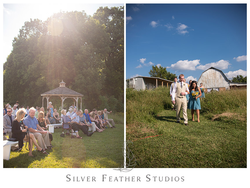 Beautiful sunlight on the wedding ceremony at Starlight Meadow.  © Silver Feather Studios, Burlington, NC Wedding Photography