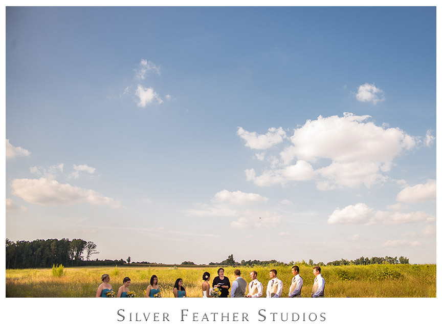 Blue skies and clouds above the fields of Starlight Meadow in Burlington, NC. © Silver Feather Studios, Burlington, NC Wedding Photography