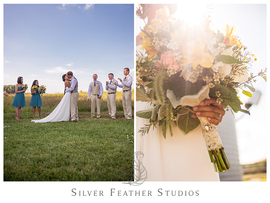 Blue and yellow barn wedding at Starlight Meadow in Burlington, North Carolina. © Silver Feather Studios, Burlington, NC Wedding Photography