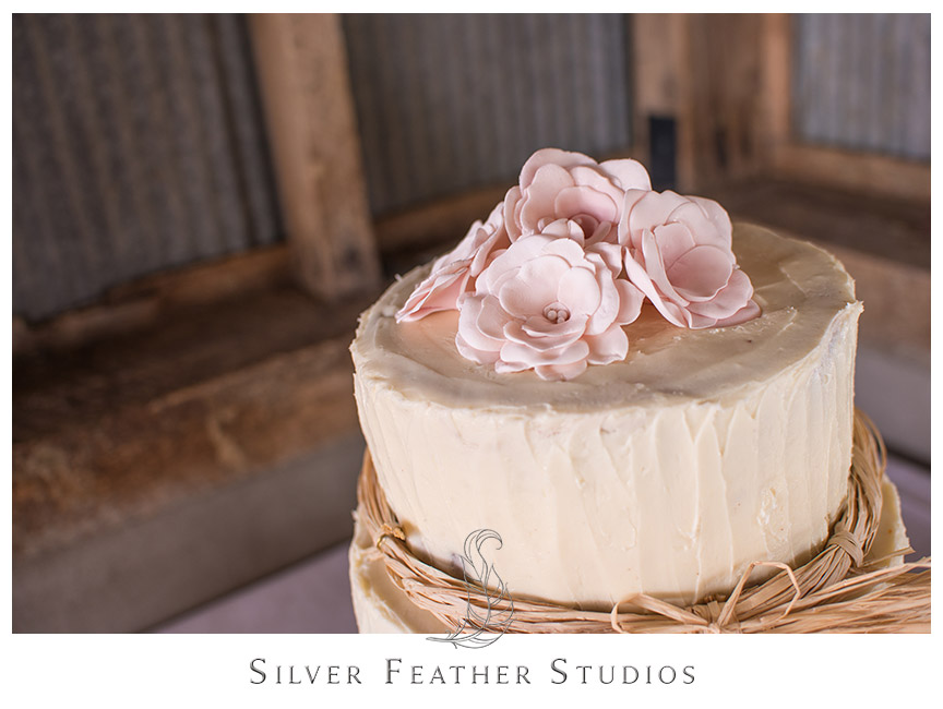 Red velvet cake with beige butter cream frosting, twine decorations, and pink edible flower topper. © Silver Feather Studios, Burlington, NC Wedding Photography