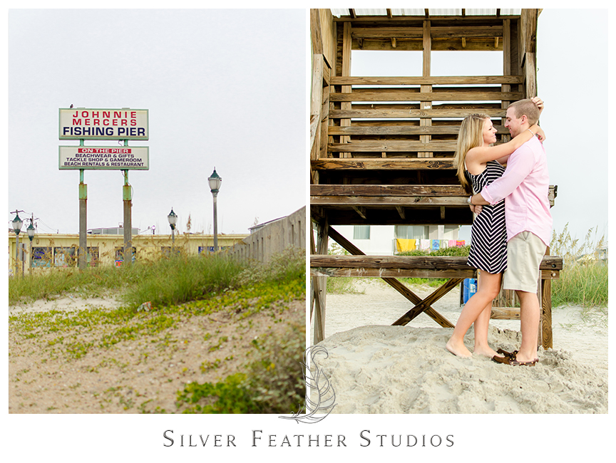 Wrightsville Beach engagement session at Johnnie Mercers Fishing Pier. © Silver Feather Studios, Burlington, NC Wedding Photography & Videography
