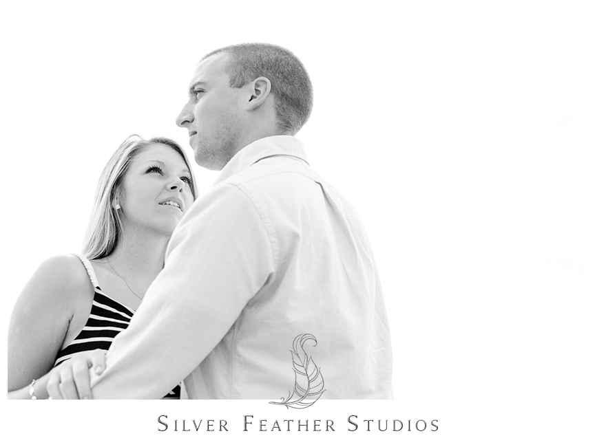 Black and white beach engagement photography in Wilmington, NC. © Silver Feather Studios, Burlington, NC Wedding Photography & Videography