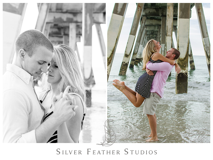 Romantic beach engagement session at Wrightsville Beach, NC. © Silver Feather Studios, Burlington, NC Wedding Photography & Videography