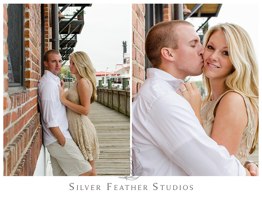 Megan and Jay pose by the water at their chic engagement session in downtown Wilmington, NC.  © Silver Feather Studios, Burlington, NC Wedding Photography & Videography