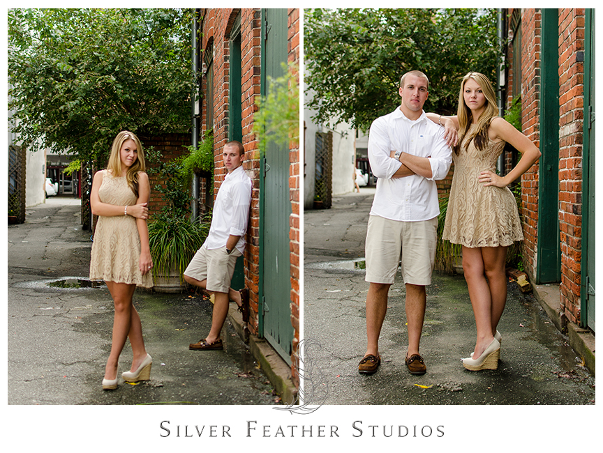 Chic and romantic engagement session in historical downtown Wilmington with Megan and Jay.  © Silver Feather Studios, Burlington, NC Wedding Photography & Videography
