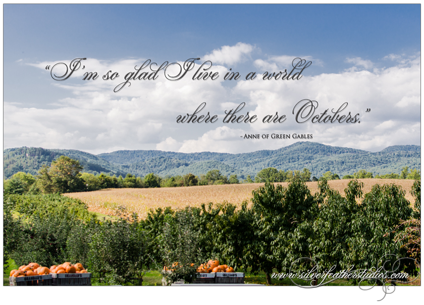 Quote from Anne of Green Gables about Octobers. Background image by Silver Feather Studios, Burlington, NC Wedding Videography & Photography