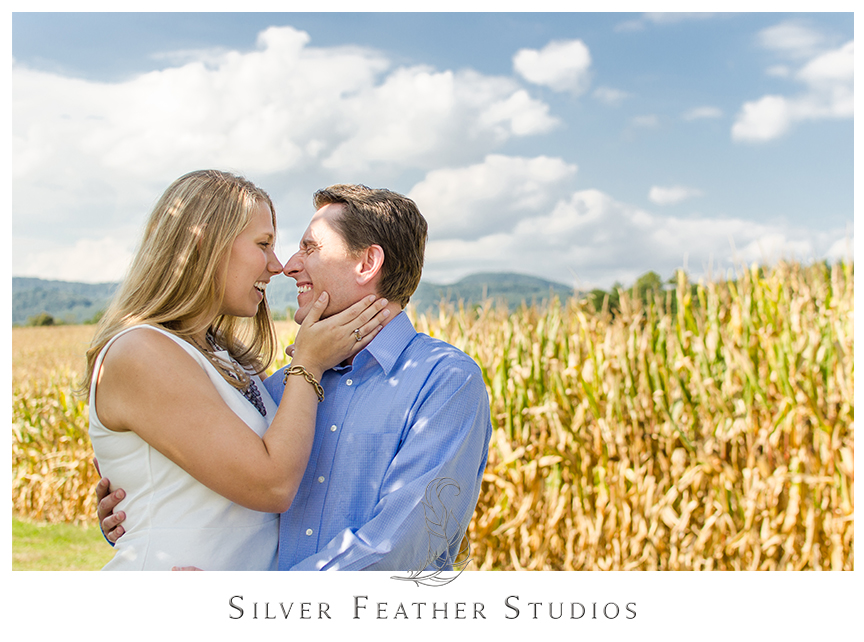 North Carolina couples engagement photography in the corn fields in Hendersonville, NC. © Silver Feather Studios, North Carolina Wedding Photography & Videography  © Silver Feather Studios, North Carolina Wedding Photography & Videography