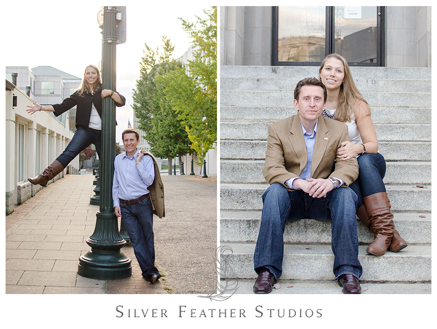 Couple pose on the streets of downtown Asheville for their autumn engagement session.. © Silver Feather Studios, North Carolina Wedding Photography & Videography
