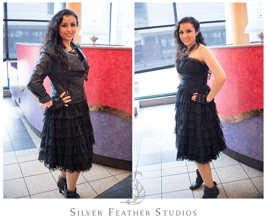 Leather and black dauntless-inspired outfit for the Divergent Red Carpet screening in Atlanta, GA. © Silver Feather Studios, North Carolina Wedding Photography & Videography