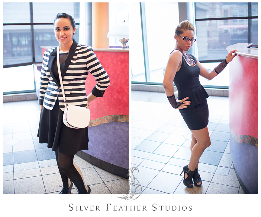 Black and white candor inspired outfit, and leather and black dauntless inspired outfit for the Divergent Red Carpet screening in Atlanta, GA. © Silver Feather Studios, North Carolina Wedding Photography & Videography