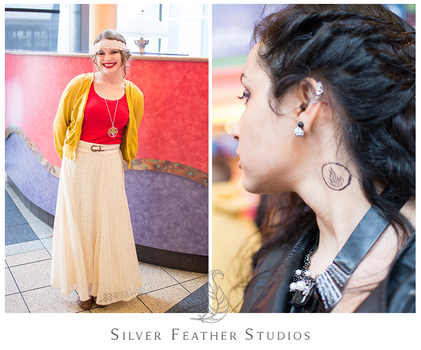 Red and yellow Amity inspired outfit for Divergent Red Carpet screening in Atlanta, GA. along with black Dauntless tattoo.© Silver Feather Studios, North Carolina Wedding Photography & Videography