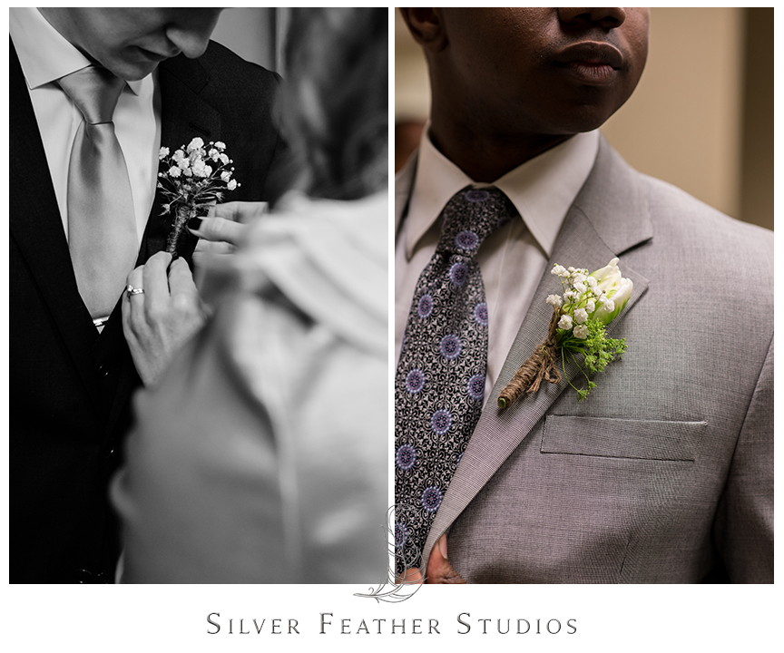 Tulip and baby's breath wrapped in twine for the boutonnieres. © Silver Feather Studios, Wedding Photography in Greensboro, North Carolina.