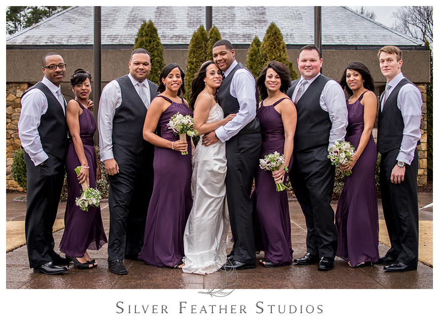 Bridal party pose at this Purple and Gray purple themed wedding at the Bryan Park Golf Center. © Silver Feather Studios, Wedding Photography in Greensboro, North Carolina.