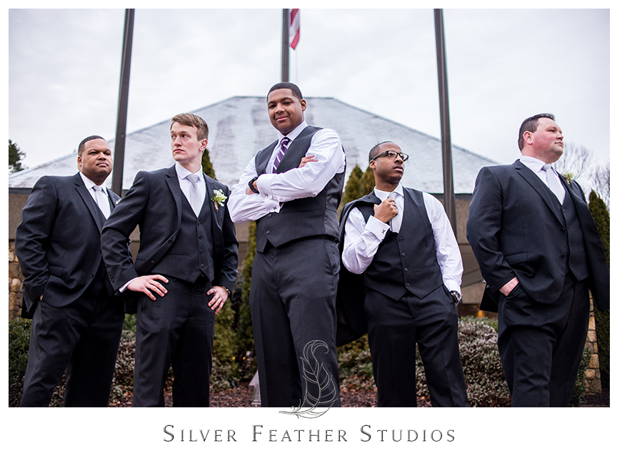 Groomsmen pose with the groom at this Bryan Park Golf Center Wedding in Greensboro. © Silver Feather Studios, Wedding Photography in Greensboro, North Carolina.