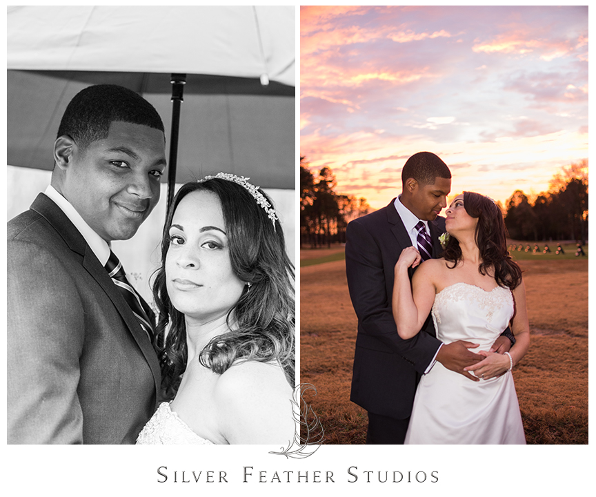 Stunning sunset after the rain at the Bryan Park Golf Center in Greensboro. © Silver Feather Studios, Wedding Photography in Greensboro, North Carolina.