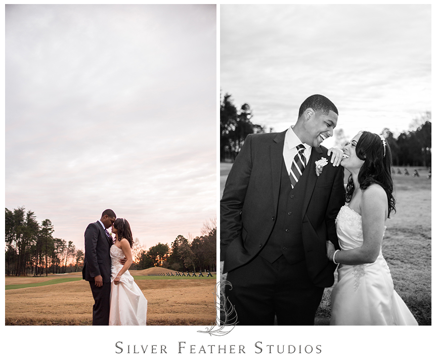 Bride and groom at their purple and grey Bryan Park Golf Center Wedding in Greensboro. © Silver Feather Studios, Wedding Photography in Greensboro, North Carolina.