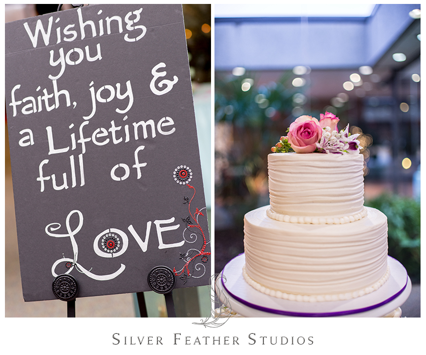 Bryan Park Golf Center Wedding reception featuring welcome sign and white cake with pink rose topper. © Silver Feather Studios, Wedding Photography in Greensboro, North Carolina.
