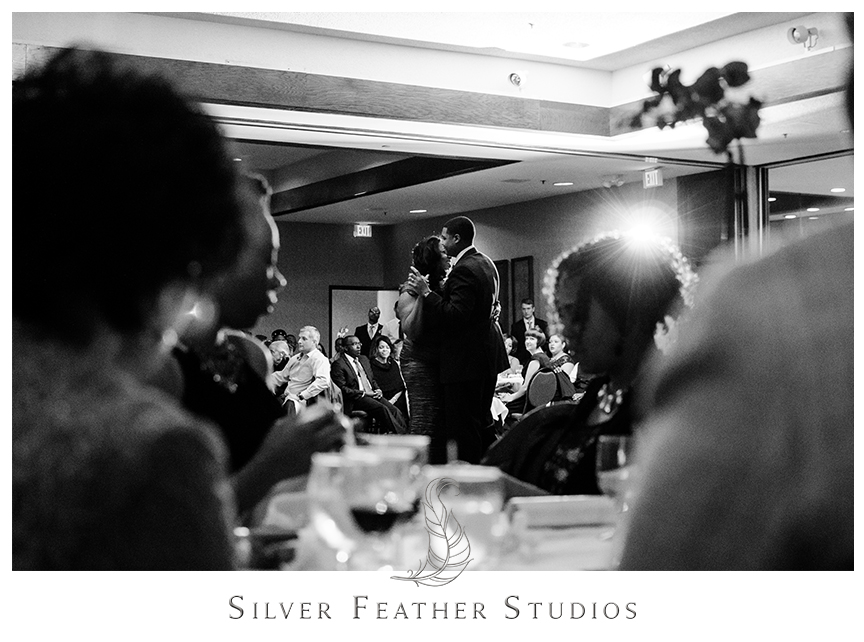 Emotional mother and son dance at this Bryan Park Golf Center Wedding reception. © Silver Feather Studios, Wedding Photography in Greensboro, North Carolina.