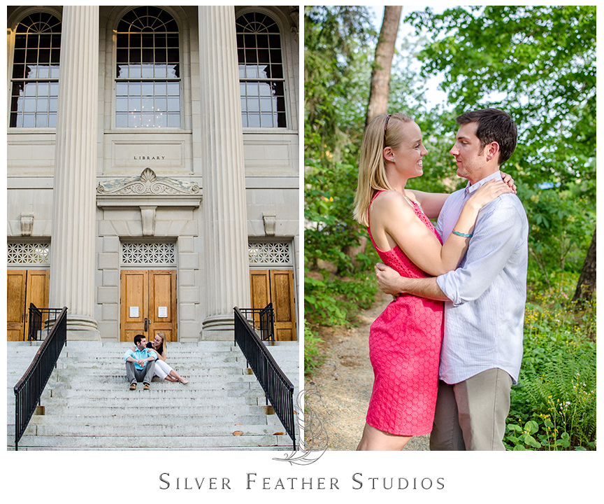 Erin and Jacob's UNC Chapel Hill engagement session by Silver Feather Studios, a North Carolina wedding cinematography and photography company.
