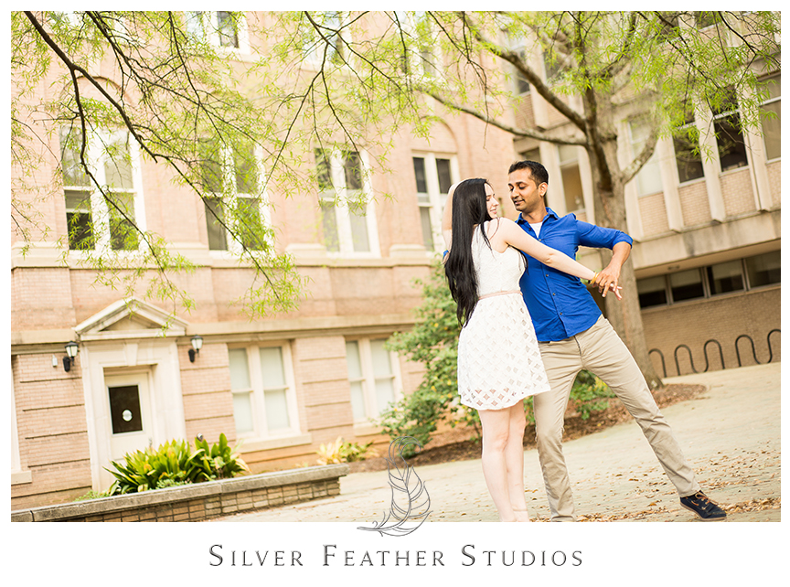 Madison and Harsh do ballroom dancing on the UNC Chapel Hill campus. © Silver Feather Studios, Chapel Hill Wedding Photography & Cinematography