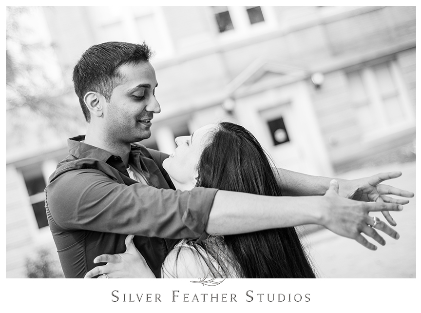 Madison and Harsh do ballroom dancing at their UNC Chapel Hill engagement session. © Silver Feather Studios, Chapel Hill Wedding Photography & Cinematography