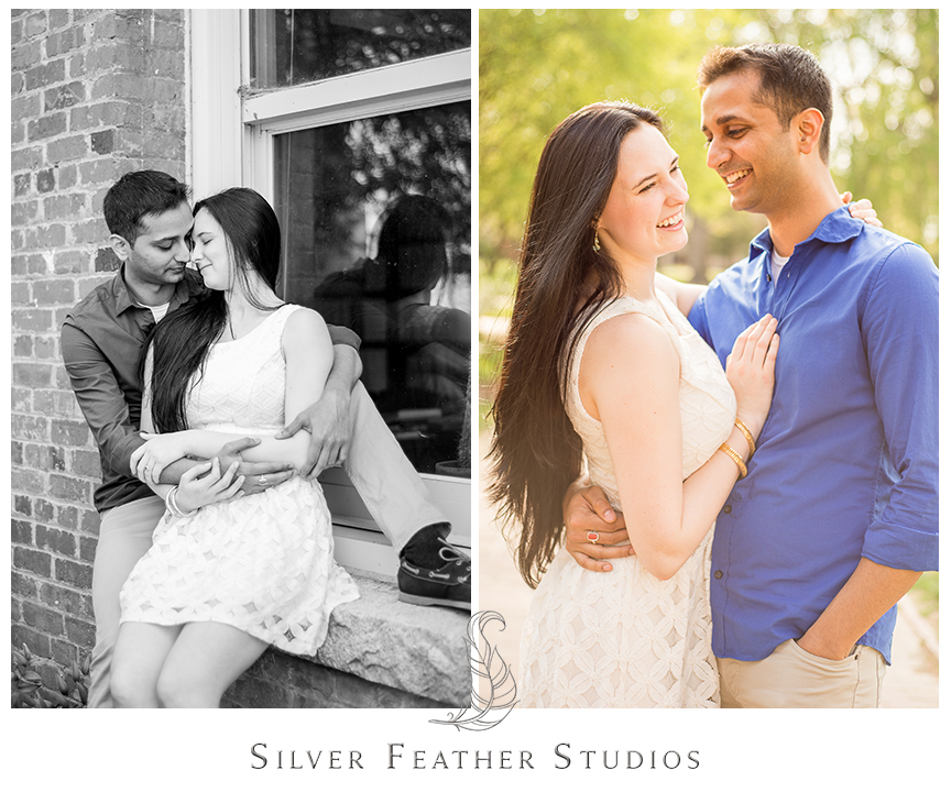 Madison and Harsh pose in ivory and blue at their UNC Chapel Hill engagement session. © Silver Feather Studios, Chapel Hill Wedding Photography & Cinematography