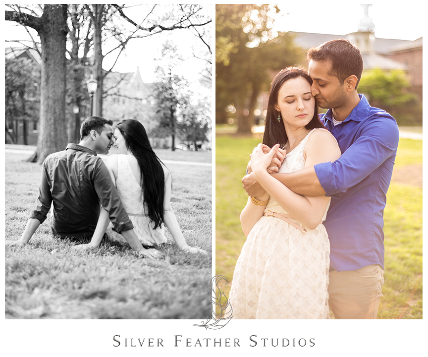 Madison and Harsh pose on the lawn during their UNC Chapel Hill engagement session. © Silver Feather Studios, Chapel Hill Wedding Photography & Cinematography
