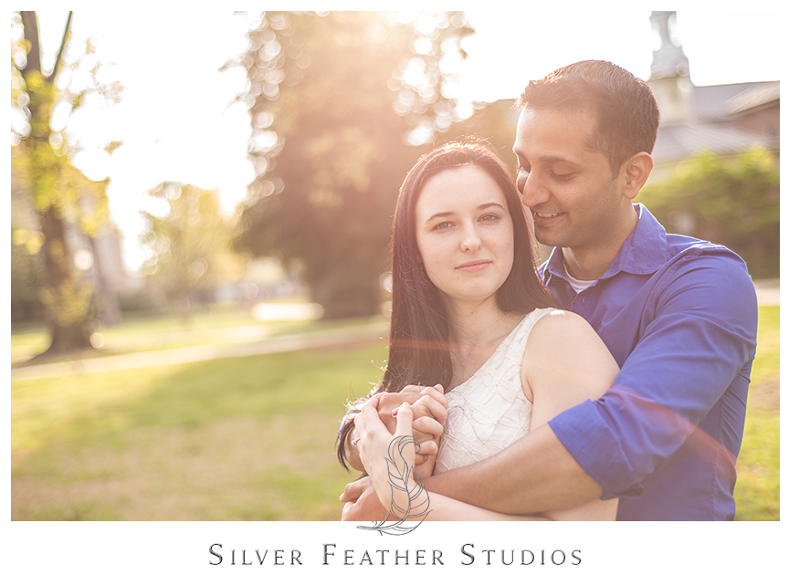Couple photographed at UNC Chapel Hill for their engagement session. © Silver Feather Studios, Chapel Hill Wedding Cinematography & Photography