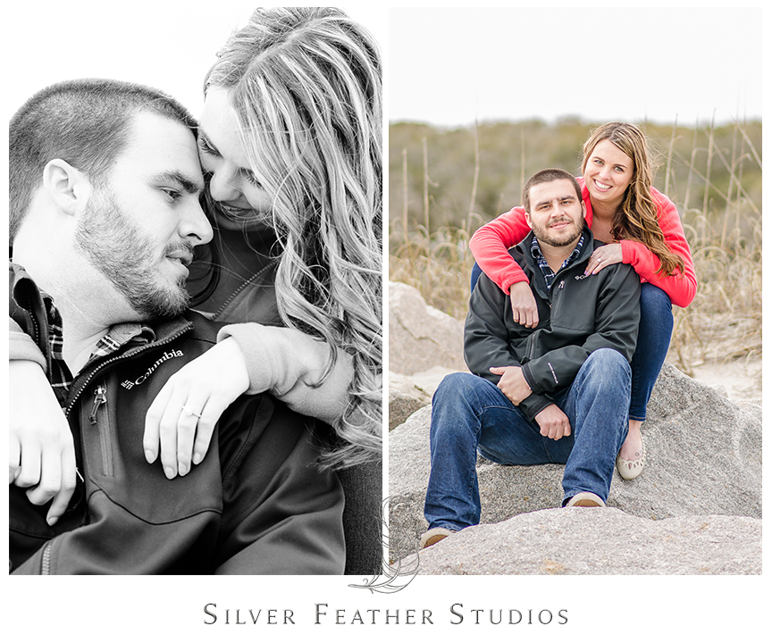Jessica and Andrew brave forty degree beach weather at their Fort Fisher engagement session in Kure Beach, NC. © Silver Feather Studios, Burlington, NC Wedding photography and cinematography.