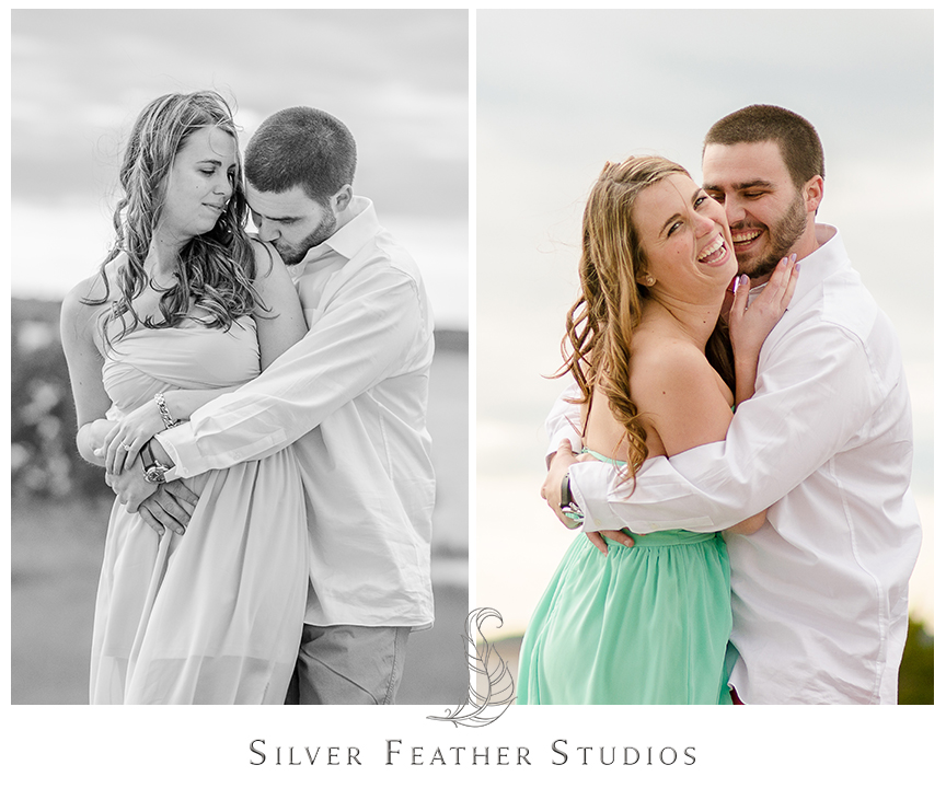 Andrew rocks red pants that pop against Jessica's mint strapless dress at their Fort Fisher engagement session in Kure Beach, NC. © Silver Feather Studios, Burlington, NC Wedding photography and cinematography.