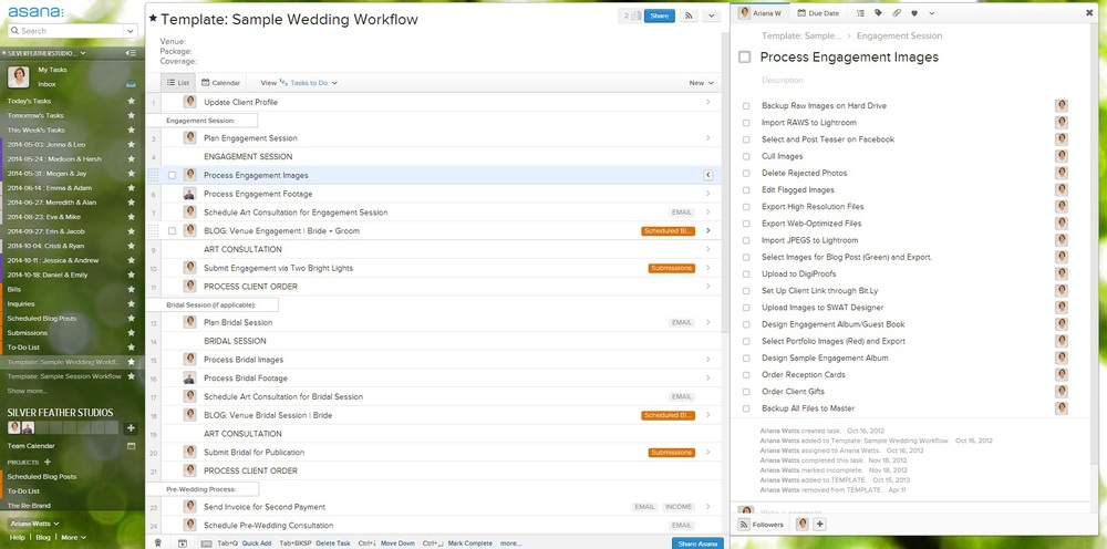 Asana Task Management Software, as used by a wedding photographer.