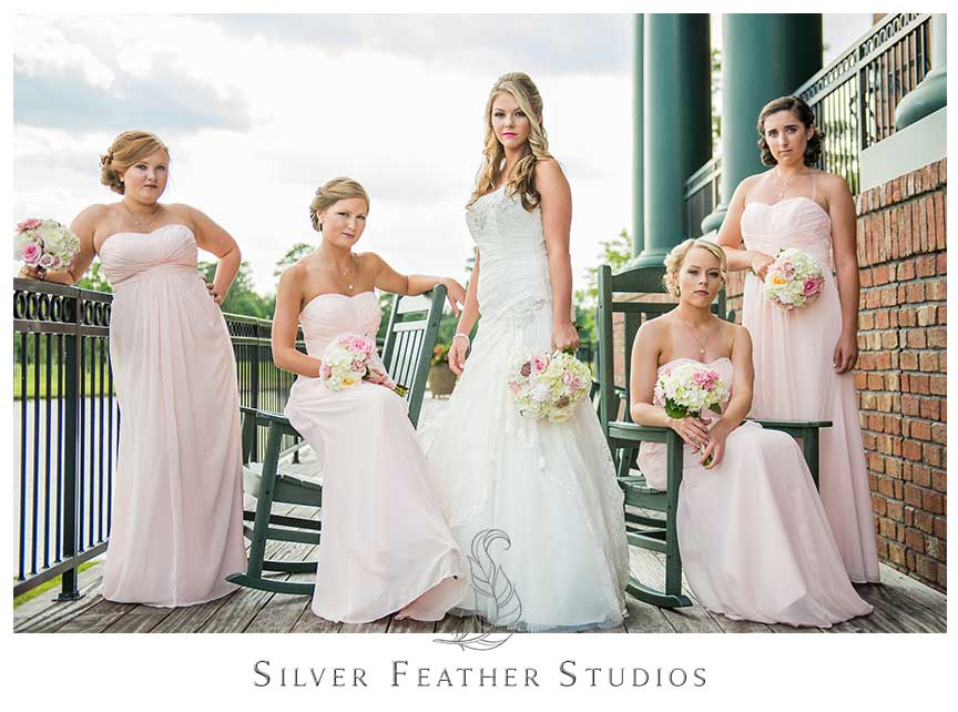 Megan and Jay's stunning soft pink and black outdoor wedding at River's Landing in Wallace, NC. © Silver Feather Studios, Wallace NC Wedding Photographer and Videographer