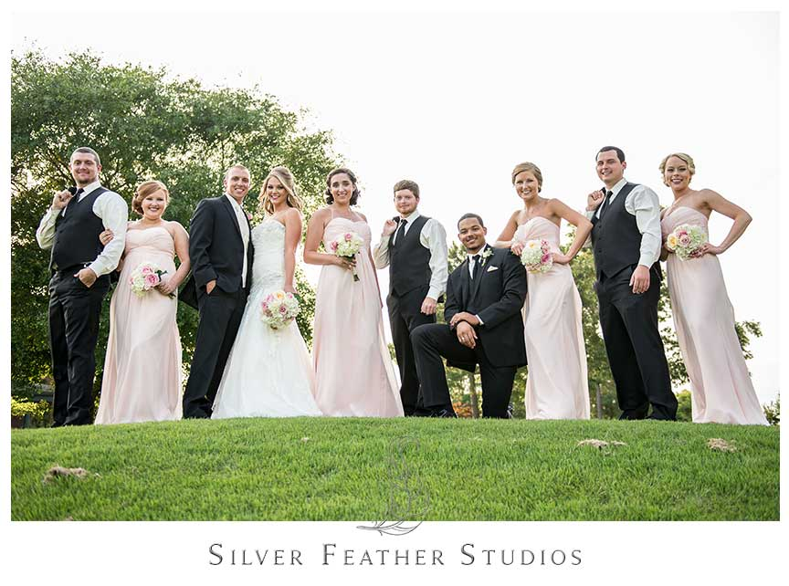 Megan and Jay's stunning soft pink and black outdoor wedding at River's Landing in Wallace, NC. © Silver Feather Studios, Wedding Photographer and Videographer in Wallace, NC