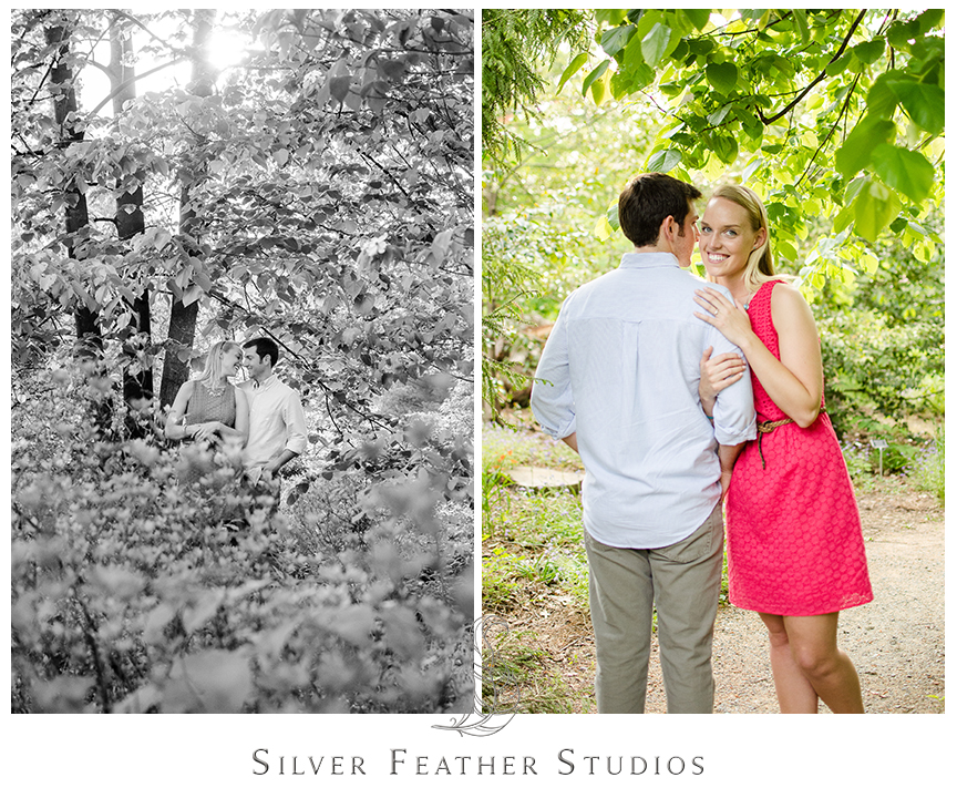 coral and blue engagement session, coker arboretum, chapel hill wedding photographers.