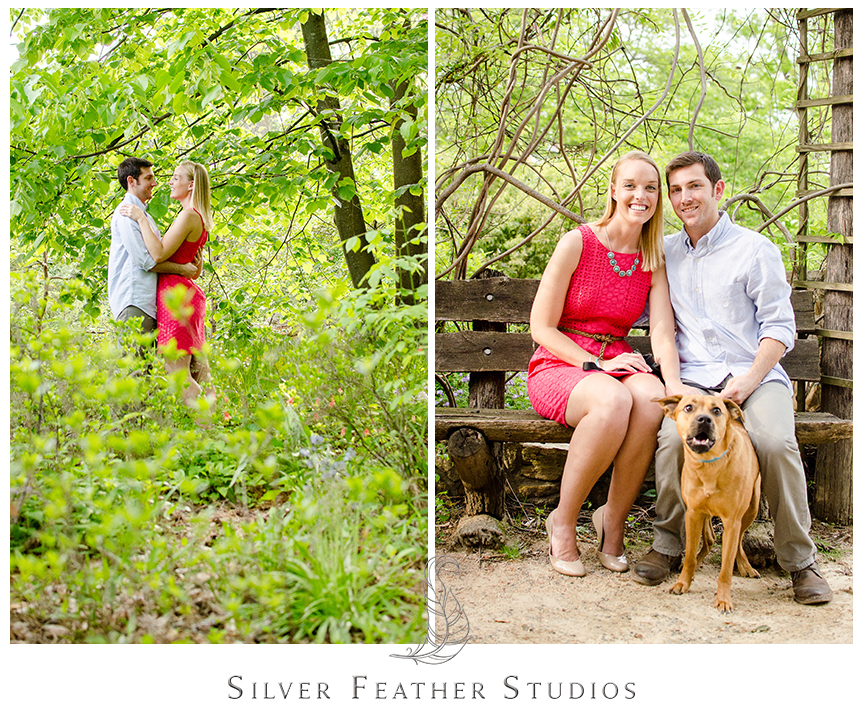 couples pose at the coker arboretum, unc chapel hill, chapel hill wedding photography.