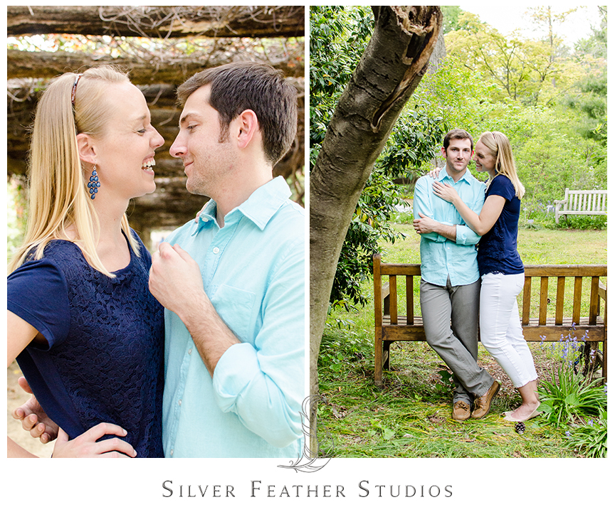 Chapel Hill wedding photographer and video, Silver Feather Studios captures Erin and Jacob in their navy and turquoise outfits at the Coker Arboretum.