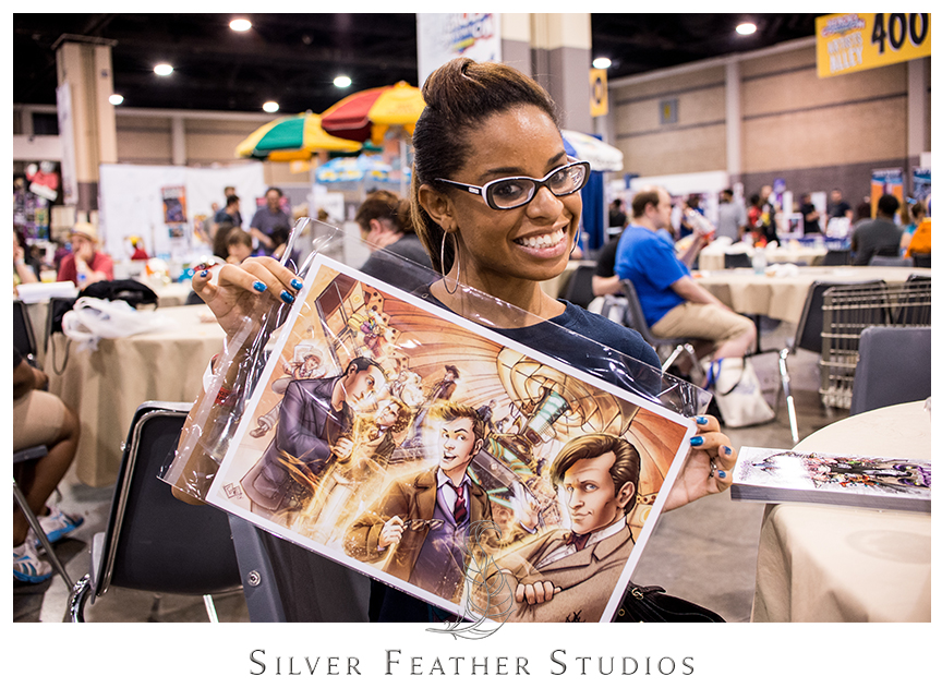 Ariana's new Doctor Who print by Comfort and Adam at the Heroes Convention 2014, Charlotte Convention Center. © Silver Feather Studios