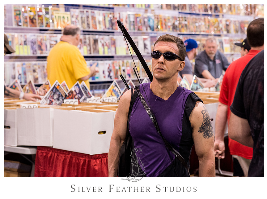 Hawkeye cosplay at the 2014 Heroes Convention in Charlotte, North Carolina. © Silver Feather Studios, the geekiest wedding photographers ever.