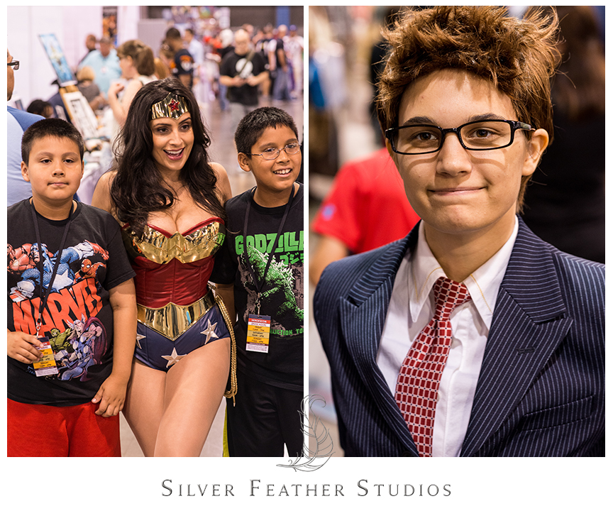Awesome female cosplayers dress up as Wonder Woman and the Tenth Doctor at the 2014 Heroes Convention in Charlotte, NC.© Silver Feather Studios, the nerdiest wedding photographers ever.