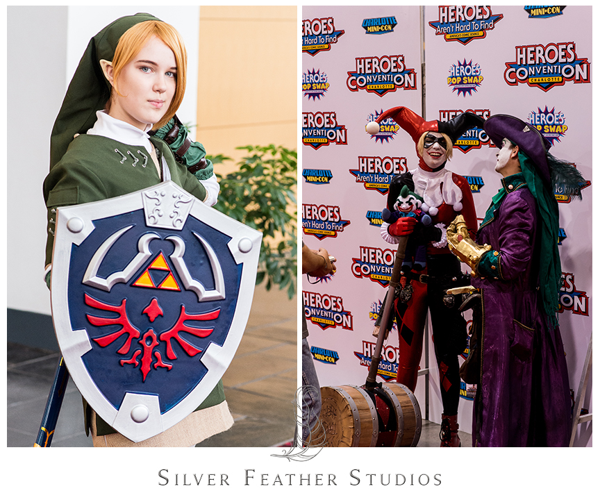 Link and Harley Quinn cosplay at the2014 Heroes Convention in Charlotte, NC.© Silver Feather Studios, the nerdiest wedding photographers ever.