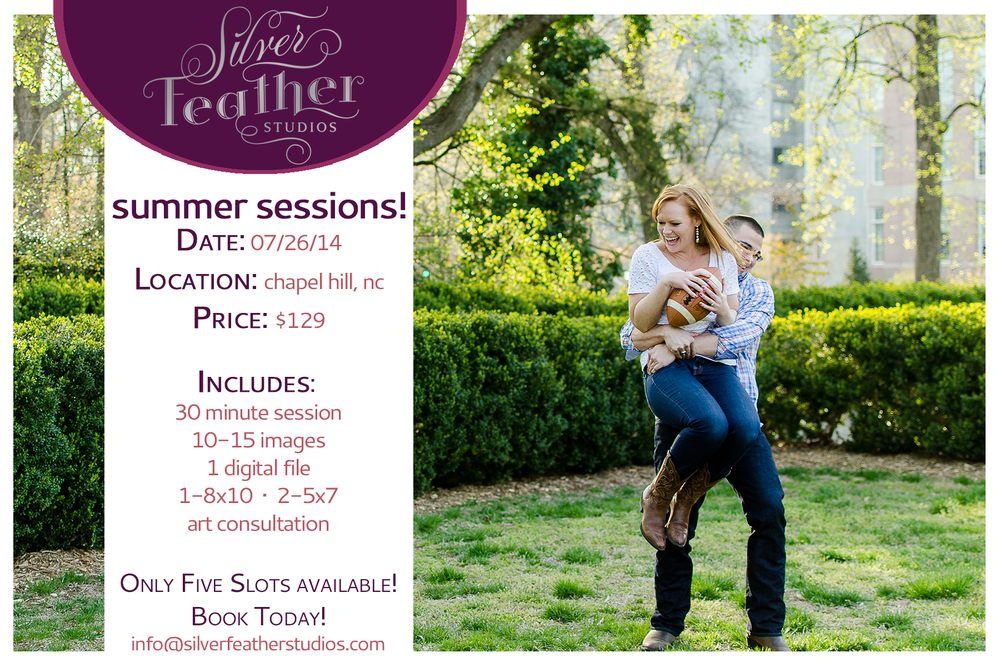 Summer mini sessions at UNC Chapel Hill by Silver Feather Studios, a Chapel Hill wedding photography company.