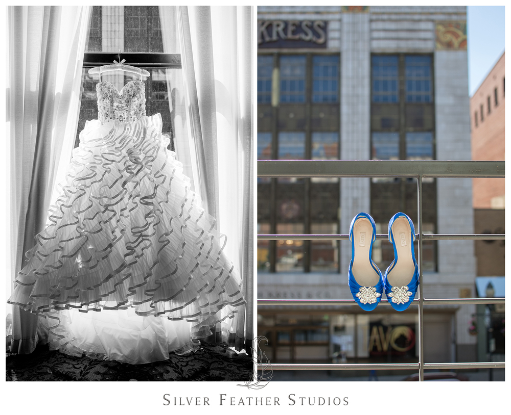 Stunning bridal gown and blue jeweled heels at this Empire Room wedding in Greensboro, North Carolina. © Silver Feather Studios, Greensboro wedding photography and videography.